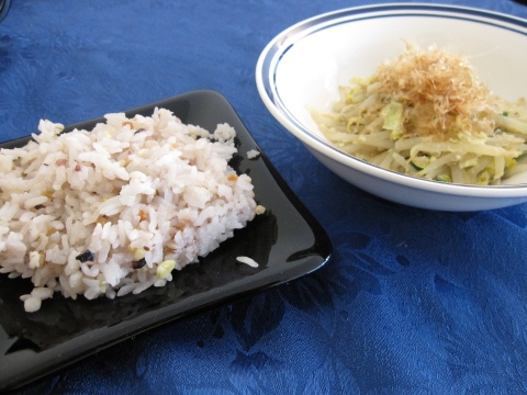 Multigrain rice and bean sprouts